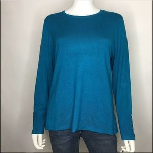 JM Collection Petite PXL Teal Sweater Top Pullover